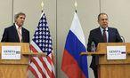 John Kerry und Sergej Lawrow verhandelten in Genf über eine Syrien-Waffenruhe. / Bild: REUTERS