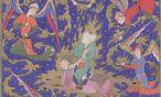 """""""Die Himmelsreise des Propheten"""", eine persische Miniatur, zirka 1570/80: Mohammed wird von Gaben bringenden Engeln begleitet. / Bild: (c) Österreichische Nationalbibliothek"""
