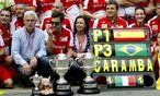 Ferrari-Feier nach dem GP von Spanien / Bild:  EPA/TONI ALBIR