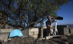 Ein UN-Soldat beobachtet die Gegend um Auneitra die syrisch-israelische Grenze auf den Golanhöhen. / Bild: (c) REUTERS