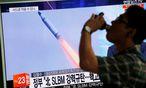 Auch das südkoreanische TV berichtete über den Raketenabschuss. / Bild: (c) Reuters