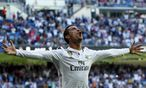 Nur wenn Cristiano Ronaldo so jubelt, ist Real Madrid zumeist erlöst. Heute ist der Torjubel des Portugiesen gegen Atlético Madrid zwingend nötig. / Bild: (c) REUTERS (JUAN MEDINA)