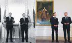 Aufpolieren wollen Kern und Mitterlehner (3., 4. v. l.) den Regierungspakt, den Faymann und Spindelegger (2., 1. v. l.) fast auf den Tag vor drei Jahren geschlossen haben.  / Bild: Helmut Fohringer, Michael Gruber/picturedesk.com