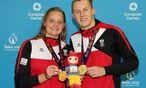 Caroline Pilhatsch und Sebastian Steffan holen sich bei den Europaspielen in Baku eine Goldmedaille bei den Schwimmbewerben. / Bild: (c) GEPA pictures
