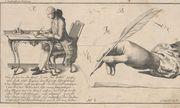 Die richtige Sitz- und Schreibhaltung: Anleitung zum Schönschreiben unter Maria Theresia, 1775.  / Bild: (c) ÖNB