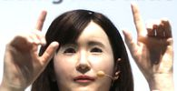 Toshiba Corp. demonstrates its communications android named Ms. Aiko Chihira that can use sign language and introduce itself, at CEATEC JAPAN 2014 in Chiba