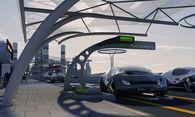 Nicht nur das Service, sondern auch die Architektur der Zapfstationen wird sich verändern (müssen). Im Bild eine Designstudie der Tankstelle der Zukunft von Siemens. / Bild: (c) Siemens AG