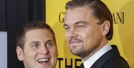 Cast members Leonardo DiCaprio and Jonah Hill arrive for the premiere of the film ´The Wolf of Wall Street´ in New York in this file photo