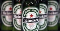 File photo shows bottles of Heineken beer displayed before a news conference in London