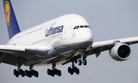 File photo of Lufthansa Airbus 380 approaching Frankfurt airport