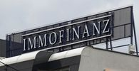 The logo of Austrian property group Immofinanz is pictured on the rooftop of an office building in Vienna