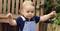 Britain´s Prince George is seen ahead of his first birthday during a visit to the Sensational Butterflies exhibition at the Natural History Museum in London