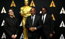 Director Peck, producers Grellety and Peck of ´I Am Not Your Negro,´ Academy Award nominee for Documentary (Feature), pose at a reception at the Academy of Motion Picture Arts and Sciences in Beverly Hills