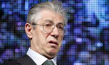 Italy's Northern League former leader Umberto Bossi attends the Northern League rally in Bergamo