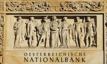 The lettering Oesterreichische Nationalbank Austrian national bank is seen above the entrance of its headquarters in Vienna