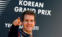 Ein gewohntes Bild - Sebastian Vettel auf dem Siegerpodest