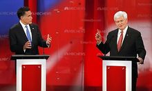 Republican presidential candidate former Massachusetts Governor Mitt Romney and former Speaker of the