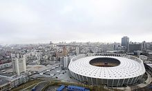 An aerial view shows the Olympic stadium in Kiev