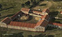 Eine Simulation der Gladiatorenschule in Carnuntum