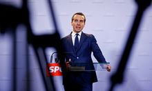 Austrian Chancellor Kern addresses a news conference in Vienna