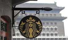 The Starbucks logo is seen in central Beijing