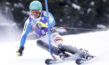 Neureuther of Germany skis during the first run of the men's Alpine Skiing World Cup slalom race in Wengen