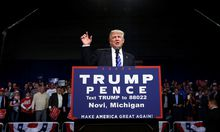 Republican presidential nominee Donald Trump holds a rally with supporters at the Suburban Collection Showplace in Novi, Michigan