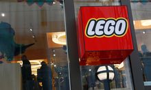 A Lego logo is seen outside the world´s biggest Lego store in Leicester Square in London