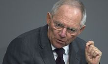 German Finance Minister Schaeuble speaks during Bundestag debate about European banking union in Berlin