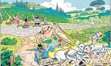 """Obelix will Krieger werden wie Asterix, und beide machen sich auf ins Römerland: Zeichnung aus dem Band """"Asterix in Italien"""", der im Herbst erscheint."""
