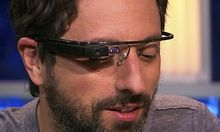Handout shows Google co-founder Sergey Brin modelling prototype for new Google glasses on The Gavin