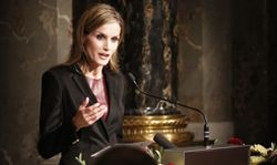 Spain´s Queen Letizia delivers her speech during the opening ceremony of the ´Velazquez´ exhibition in Vienna