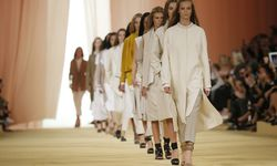 Models presents creations by French designer Christophe Lemaire as part of his Spring/Summer 2015 women´s ready-to-wear collection for fashion house Hermes during Paris Fashion Week