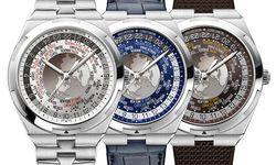 """Die Vacheron-Constantin-""""Overseas Weltzeituhr"""" kann ganz-, halb- und viertelstündliche Abweichungen von der koordinierten Weltzeit (UTC) anzeigen. Ein silberfarbenes, blaues und braunes Zifferblatt stehen zur Wahl. Zu jeder Uhr bekommt der Kunde ein Stahl-, Leder- und Gummiband, das er selbst ganz einfach wechseln kann. Motor der Uhr ist Kaliber """"2460WT"""" der Genfer Manufaktur. / Bild: (c) Beigestellt"""