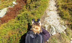 tIm Sucher. Im Liegen zittert das Fernglas nicht: Inmitten von Preiselbeeren hält die Autorin Ausschau nach Bären. / Bild: (c) Magdalena Burghardt