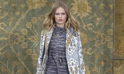 A model presents a creation during the Tory Burch Fall/Winter 2015 collection show at New York Fashion Week