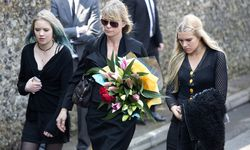 Deborah Leng arrives at the funeral service for Peaches Geldof at the St Mary Magdalene and St Lawrence church in Davington