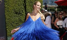 Model Heidi Klum poses at the 2014 Creative Arts Emmy Awards in Los Angeles, California
