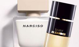 "Puristen. ""Narciso"" von Narciso Rodriguez, 50 ml Eau de Parfum um 82 Euro. ""Simply"" von Jil Sander, 60 ml Eau de Parfum um 74 Euro. / Bild: (c) Beigestellt"