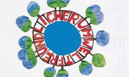Erdball. Entwurf Hundertwassers für das Umweltzeichen, beauftragt 1990 vom Umweltministerium. / Bild: (c) APA