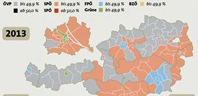 Stimmenmehrheit nach Bezirken / Bild: (c) APA