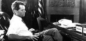 - 1968 FILE PHOTO - Robert F. Kennedy sits at his desk at the Justice Department in this 1968 file ..