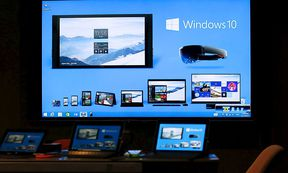 Windows 10 installed devices are displayed at Microsoft China Center One in Beijing