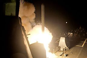A Tomahawk cruise missile is launched against ISIL targets from the US Navy guided-missile destroyer USS Arleigh Burke, in the Red Sea