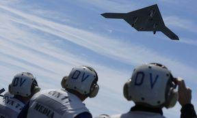 An X-47B pilot-less drone combat aircraft is launched for the first time off an aircraft carrier, the USS George H. W. Bush, in the Atlantic Ocean off the coast of Virginia