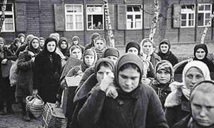 Sowjetische Zwangsarbeiterinnen bei der Ankunft in einem Berliner Durchgangslager, Dezember 1942.  / Bild: (c) G. Gronfeld / Deutsches Historisches Museum Berlin