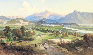 Fernblick auf die Stadt Salzburg vom Plainberg aus vom Maler Josef Mayburger, 1814. / Bild: (c) Salzburg Museum