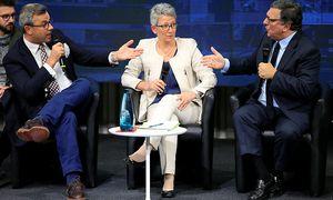 Hofer und Barroso beim Talk in Genf.  / Bild: (c) Reuters
