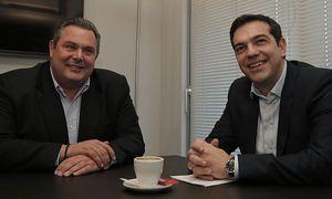 Panos Kammenos von den Unabhängigen Griechen hat mit Alexis Tsipras von Syriza ein Koalistionsbündnis geschmiedet. / Bild: (c) APA/EPA/LEFTERIS PITARAKIS / POOL (LEFTERIS PITARAKIS / POOL)