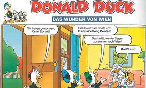 """""""Wir fliegen zusammen nach Wien!"""", freut sich Trick (oder war es Tick? Track?) im neuen """"Micky Maus""""-Heft.  / Bild: Micky Maus"""